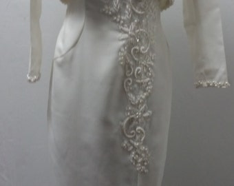 Vintage Bridal Original's Wedding Gown with Pearl Beaded Bodice and Crop Bolero Jacket, Size Medium, #62427