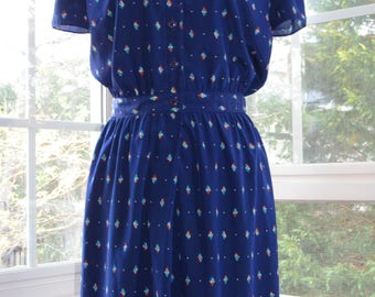 70s/80s Blue Dress, Small, Let's Go Fly a Kite
