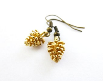 Gold Pinecone Earrings Pine Cone Jewelry  Botanical Charm Nature Rustic Woodland Wedding Accessories Autumn Fall Unique Womens Gift For Her