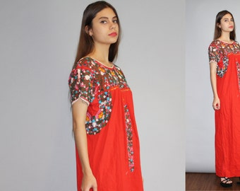 Vintage 1960s Oaxacan Red long Rainbow Floral Embroidered  Boho Hippie Folk Ethnic Long Mexican Wedding Maxi Dress  - W00130