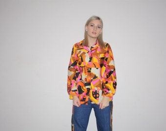 Psychedelic 1960s Vintage Neon Pink Abstract Graphic Rainbow Geometric Button Up  Disco Blouse  - VTG 60s Tops  - 70s Graphic Tops - W00263