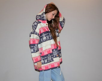 Pink 1990s Tribal Woven South West Grunge Festival Hooded Jacket - Vintage 90s Festival Coat  - Vintage Hooded Jackets  - W00314