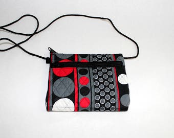 Jen Cross Body Wallet/purse in Red, Gray, and Black Circles