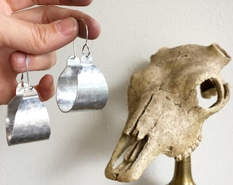 Rustic metal scoop hoop earrings, wide metal hoop earrings, hammered metal hoop earrings