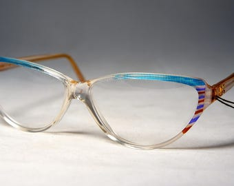 Vintage 1980's Cat Eye Eyeglass Frames, New Old Stock Handmade in France, Diane De Carlo, Turquoise/Crystal
