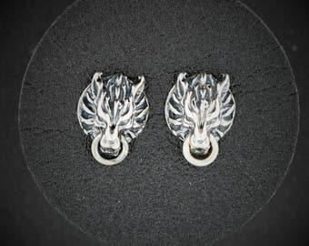 Cloud Strife Wolf Stud Earrings in Sterling Silver