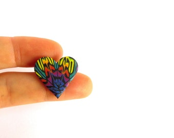 Small Rainbow Heart Shaped Brooch, Fimo Polymer Clay, Millefiori Design by Supremily Jewellery
