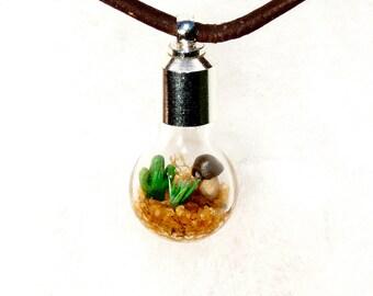 Cactus Terrarium, Men's Lost World Mini Terrarium Necklace, Gift for him, Men's Jewelry, Leather Necklace