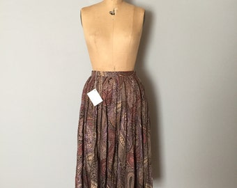 70s paisley midi skirt | flouncy full skirt