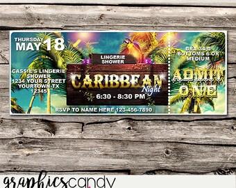 Caribbean or Caribbean Cruise Ticket Invitation - Editable - Printable - DIY - Digital File - INSTANT DOWNLOAD - Shower - Wedding