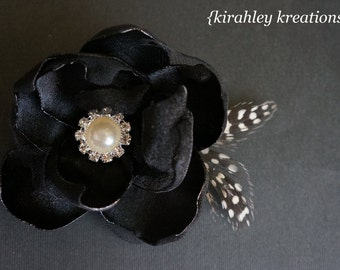 Layered Handmade Satin Sheer Black Flower Holiday Party Prom Wedding Bridal Bride Hair Clip Headpiece Fascinator Pearl Rhinestone CUSTOMIZE