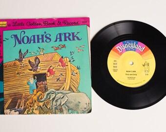Noah's Ark Little Golden Book & Record Set, 219, Vintage 70s, Disneyland, Classic 1976 Bible Story, Walt Disney, Animals, Tibor Gergely