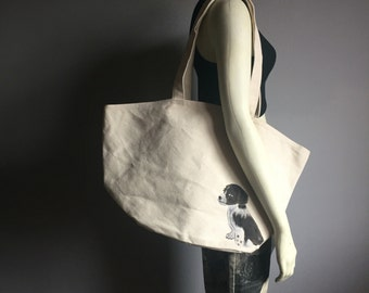 hand painted deadstock vintage tote shoulder bag spotted black and white dog puppy 70s lined overnight shopping market purse 1970s natural