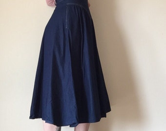 70s high waist A-line midi tea length indigo blue denim flared jean skirt retro folk womens small S medium M 7 8 9 bottom southwestern cute