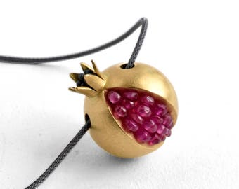 Pomegranate Necklace - 18K gold pink sapphire necklace - Gemstone Gold Necklace - Tiny Pomegranate Gold Necklace - gold pomegranate jewelry