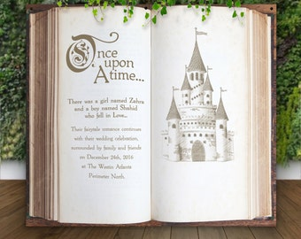 Wedding Backdrop for Ceremony Decor or Photo Booth, Book Pages Personalized Hanging Canvas Sign Wedding Back Drop Fairytale (Item - BBK750)