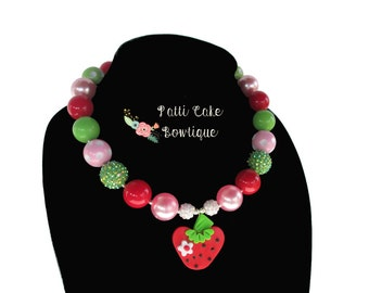 Baby Girls Birthday Necklace, Strawberry Necklace, Bubblegum Necklaces, Chunky Necklace, Strawberry Birthday Party, Baby Necklace