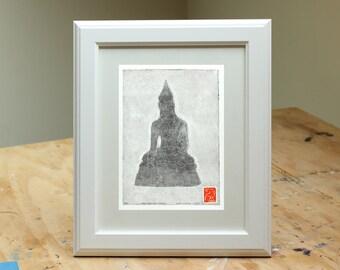Thai Buddha Statue (Med Gray) - Handmade Monotype Print