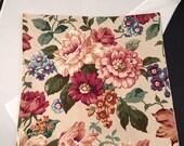 Vintage Floral Pillow Cover, Cabbage Rose Floral, Button Back, 15 x 15