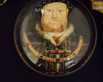 Domed Glass Paperweight Nigel Pain Portrait Henry VIII Vintage Hand Cast Domed Glass Desk Accessory Paperweight