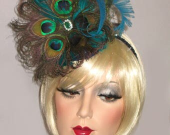 PEACOCK PREAKNESS Kentucky Derby Fascinator, High Tea Hat, Natural Peacock Feather Fascinator, Cocktail Party Fascinator, Peacock Wedding