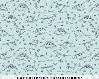 Dinosaur Lines Fabric By The Yard -  Blue Navy Dino Baby Nursery Boys Quilting Print in Yard & Fat Quarter