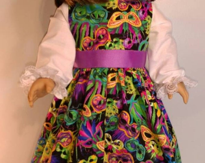Black dress with mask for Mardi Gras parade dress fits 18 inch dolls