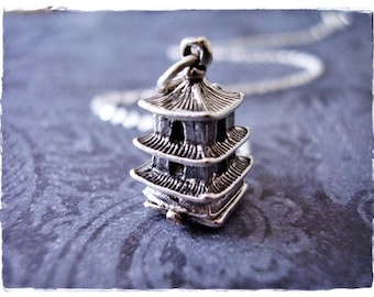 Silver Movable Temple Necklace - Sterling Silver Movable Temple Charm on a Delicate Sterling Silver Cable Chain or Charm Only