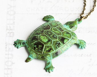 Patina Turtle Necklace, Green Turtle Pendant on Antiqued Brass Chain, Animal Jewelry, Tortoise, Turtle Lover Gift, Nature Jewelry