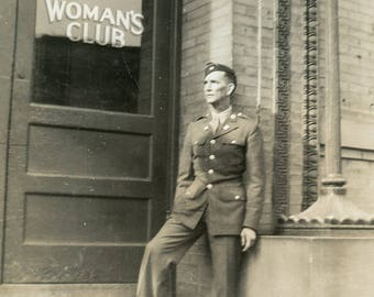 This Looks Like A Good PLACE To MEET GIRLS - Military Man Stands Outside Woman's Club Photo 1942