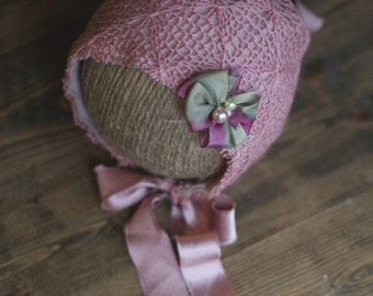 Newborn Mauve Fabric Bonnet with Silk Bow and Ties - Newborn Photography Prop