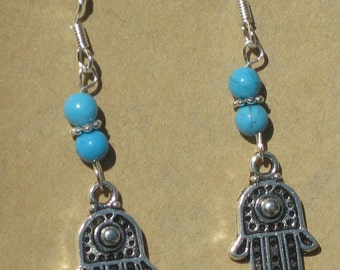 Hamsa Hand Earrings with Blue Howlite Beads