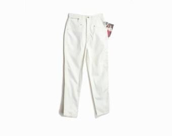 Vintage 80s Mom Jeans in White / High Waist White Denim / Gitano PS Jeans / 80s White Jeans - women's 26/27 Short