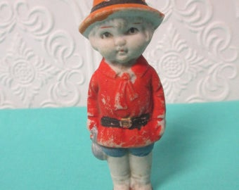 MINIATURE BISQUE DOLL - Japan Boy with Red Shirt -  Antique Vintage Mini Figure for Collecting or Altered Art Projects