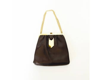 Vintage Leather Purse with Gold Chain