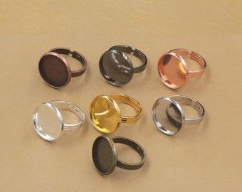 20 Brass Bronze/ Silver/ Gold/ Rose Gold/ White Gold/ Gun-Metal/ Copper Plated Ring W/ 10mm/ 12mm/ 14mm/ 16mm/ 18mm/ 20mm Round Bezel- Z7821