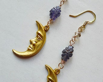 Mister Moonlight Earrings // Vintage Gold Crescent Moon Drop Dangle Earrings w/ Iolite and Smoky Quartz Gemstones Bohemian Witchy Gypsy Deco