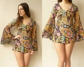 1990's Vintage Psychedelic Printed Hippie Bell Sleeve Micro Mini Dress Size XS
