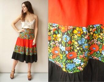 Vintage 1970's Tiered Floral & Colour Block Prairie Midi Skirt Size XS