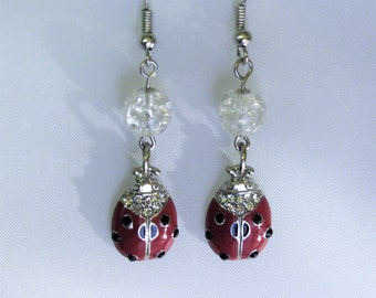 Red Lady Bug Earrings