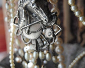 Horses And Pearls--Vintage Horse Pendant Faux And Freshwater Pearl Rosary Tassel Rhinestone NECKLACE