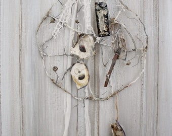 WIRE art SEA Dream Catcher, Cartapesta wire, oyster Culinary catcher, Salvage, Jeanne d arc Living Style