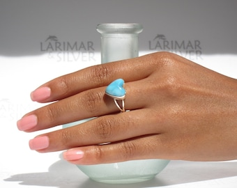 Larimar ring size 5.5 by Larimarandsilver, Love Princess - azure Larimar heart, japan size 10, blue heart, blue love, handmade Larimar ring