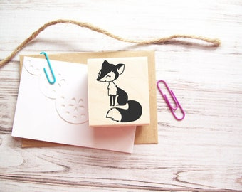 Fox Stamp , Woodland Autumn Fall Forest Critter Rubber Stamp