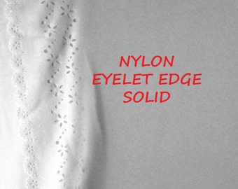 1 YARD, Narcissus White Eyelet Edge, Craft or Fashion or Home Decor Fabric, Lightweight Nylon, B16