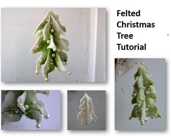 Felted Christmas Tree Tutorial, pdf tutorial, how to make felted wool Christmas tree, handmade gift, wet felt, pdf, instructions, felt guide
