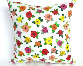 Tropical Flower Pillow, Gift for Her, Tropical Decor, Tropical Pillow Cover, Accent Pillow,  Hand Painted Pillow