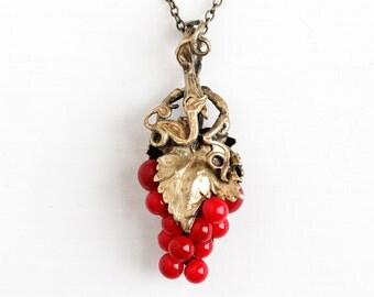 Vintage Art Deco Grape Cluster Brass Pendant Necklace - Antique 1930s Red Glass Beaded Cluster Drop Leaf Vine Jewelry