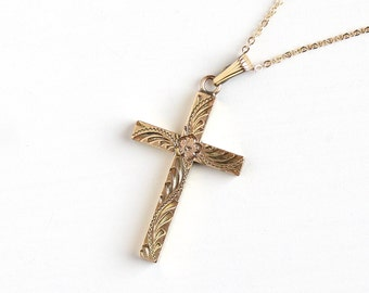 Vintage 12k Rosy Yellow Gold Filled Cross Pendant Necklace - 1940s Flower Leaf Vine Crucifix Religious Faith Charm Signed Sturdy Jewelry