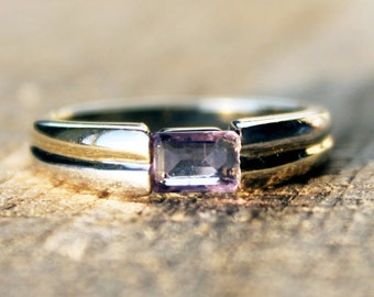 Vintage Ladies Amethyst Ring Baguette Engagement White Yellow  Gold 0.34ct 9ct 9k | FREE SHIPPING | Size 0.5 / 7.5